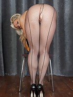 Smokin' Ashleigh performing a burlesque routine in sexy seamed fishnets and heels!