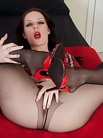 Brunette Samantha getting all the attention in black pantyhose
