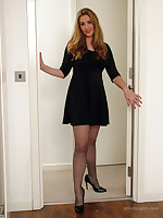 Hot babe Anna can't decide whether to tease you inside or outside wearing her silky nylons and sexy heels