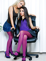 Sexy blonde & brunette in purple pantyhose strip nude.