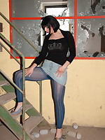 Pantyhose Diva in abandoned warehouse