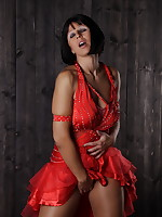 Pantyhose Diva wearing sexy red gown