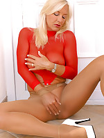 Horny MILF With Big Boobs In Pantyhose And High Heels