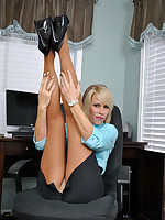 Boss Lady Nikki seduces you with her hot legs in pantyhose