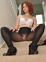 Ellie Rose in a black dress, pantyhose and high heels strips on the stairs