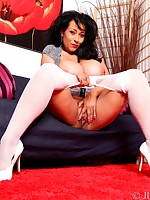 Danica wearing double layers of nylon stockings and pantyhose