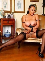 Danica in blacked ff seamed stockings over her nylon pantyhose