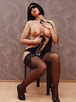 Pussy Pumping In Black Stockings