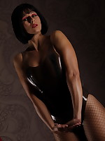 Smoky Skin Tight Latex Body And Fishnet Pantyhose